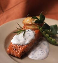 Salmon served with tarragon and creme fraiche